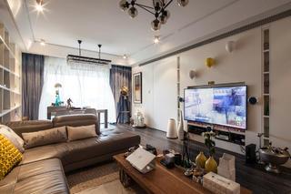 130平混搭三居室装修电视背景墙图片