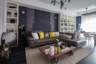 130平混搭三居室装修沙发背景墙图片