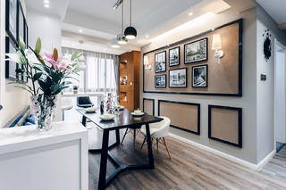 现代简约三居室装修餐厅背景墙图片