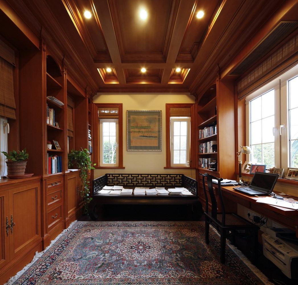 美式舒适优雅别墅装修书房装潢图