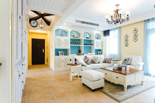 三居室地中海风格家客厅过道