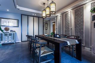 160㎡新中式风格装修餐厅背景墙设计