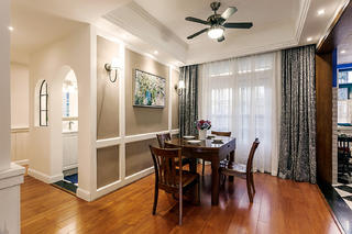 三居室美式公寓装修餐厅布置图
