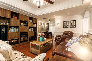 三居室美式公寓装修客厅吊顶