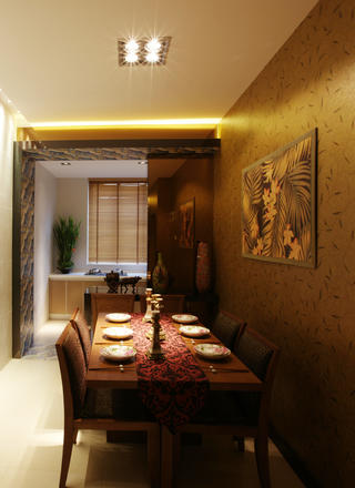 120㎡东南亚风格装修餐厅设计图