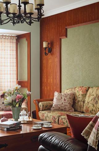 140平美式乡村三居装修客厅一角