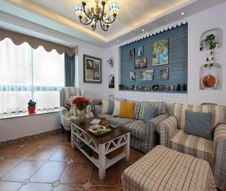 120平地中海三居沙发背景墙装修效果图