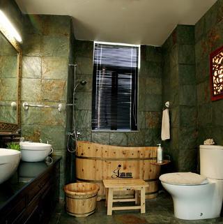 120平东南亚三居装修卫生间设计图