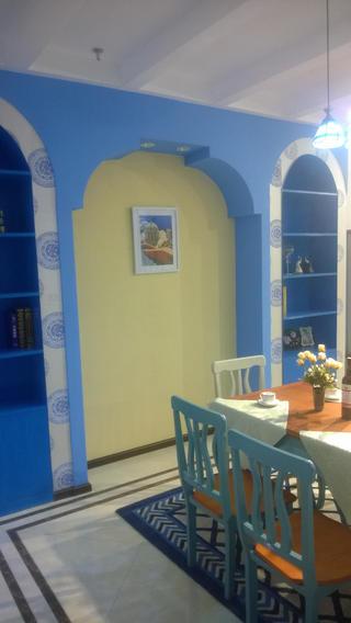 地中海两居室装修餐厅背景墙图片