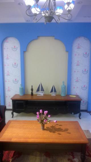 地中海两居室装修电视背景墙图片
