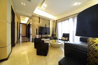现代简约三居室电视背景墙设计