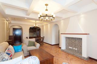 105㎡美式三居室装修造型壁炉设计