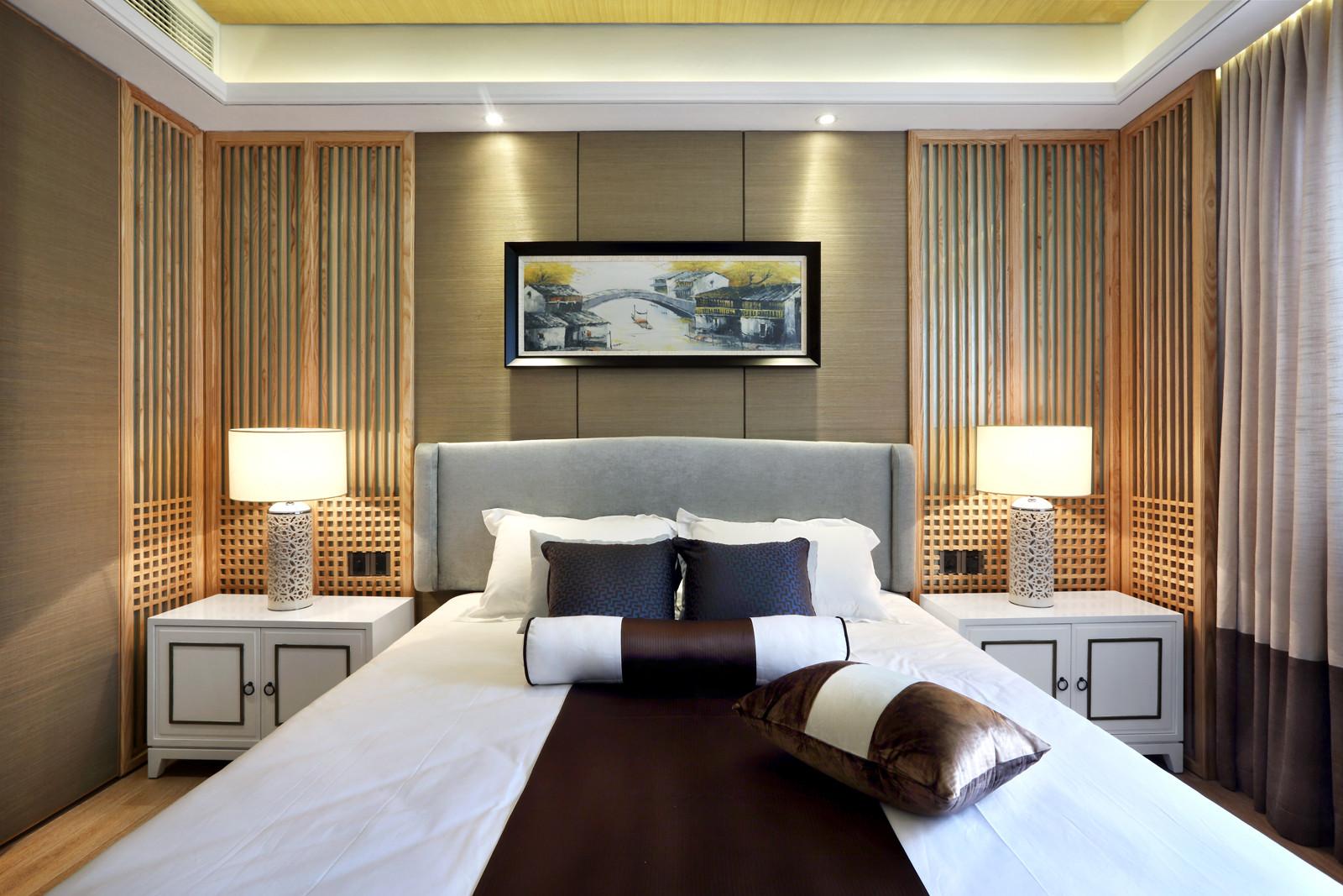 新中式样板房装修卧室背景墙设计