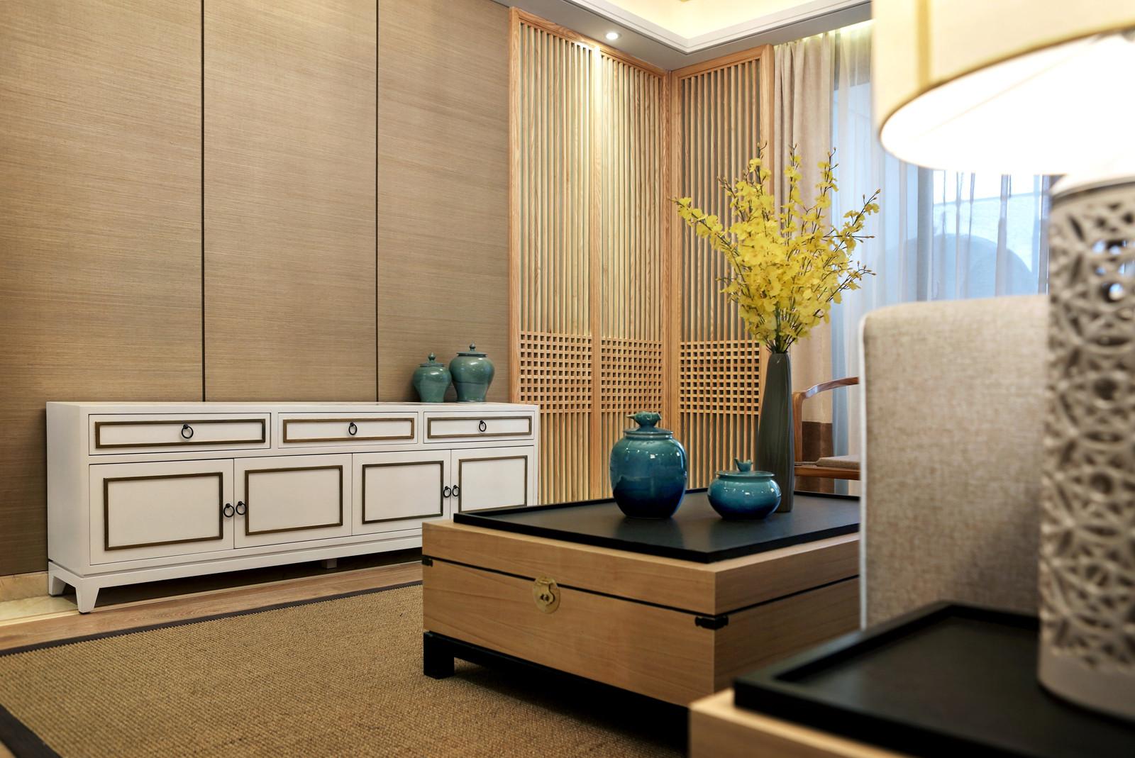 新中式样板房装修电视柜设计