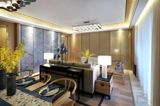 新中式樣板房裝修邊桌隔斷設計