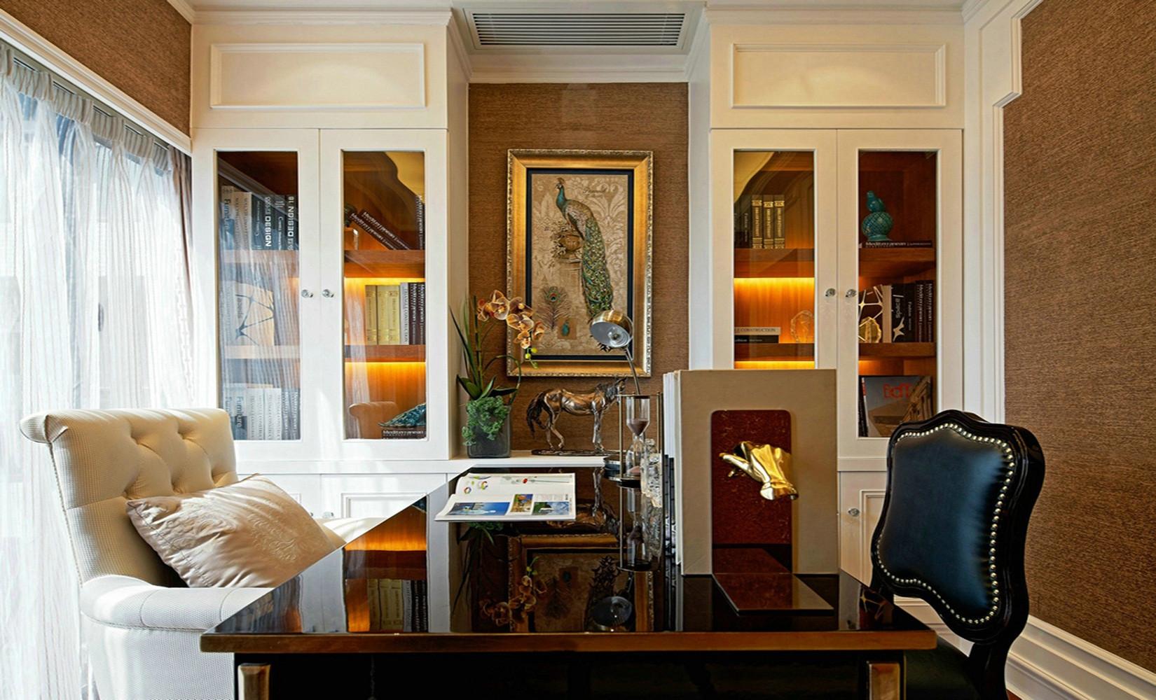 大户型美式风格装修书柜图片