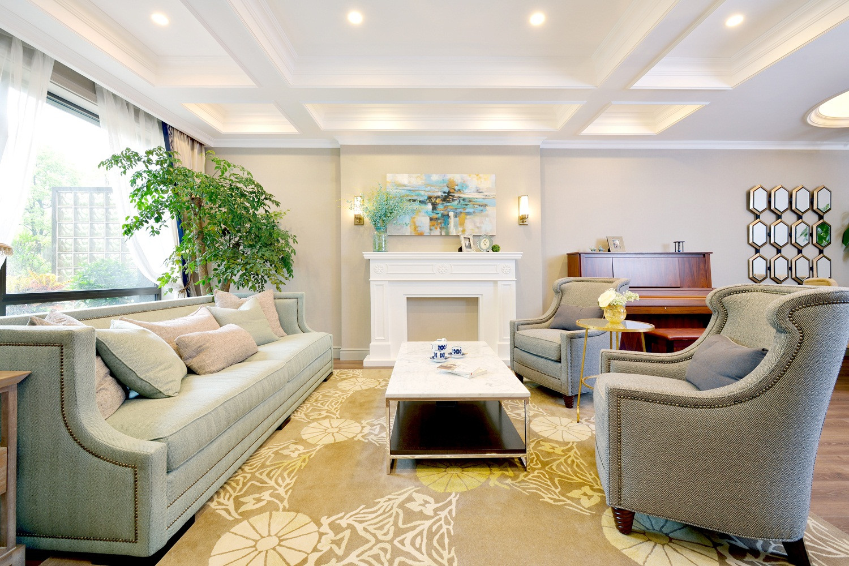 自然温馨美式别墅装修客厅效果图