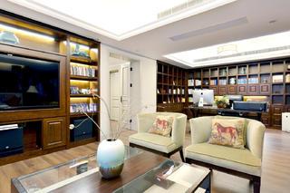 自然温馨美式别墅装修书房布置图