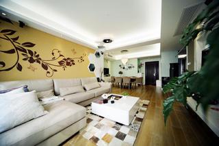 100平现代简约两居室装修沙发背景墙图片