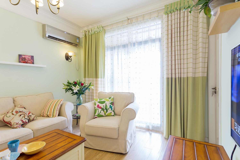 90㎡清新美式两居装修窗帘图片