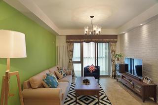 80平两居室装修客厅布置图