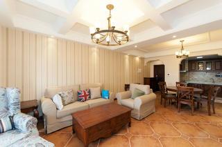 105㎡美式三居室装修沙发背景墙图片