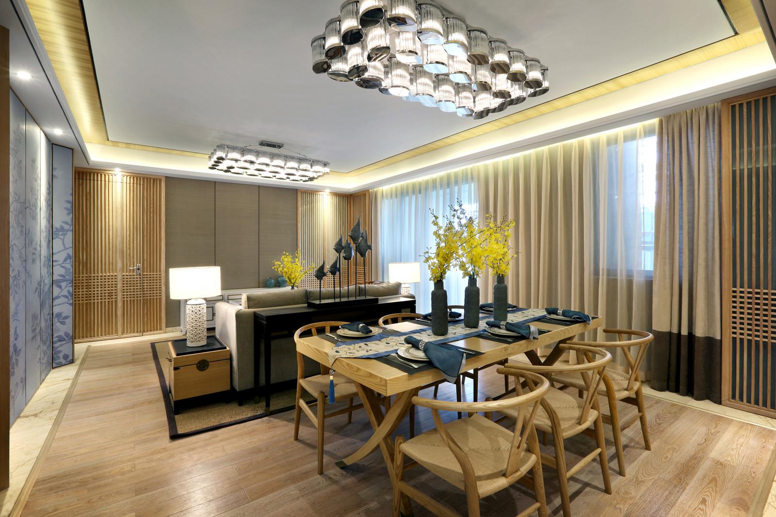 新中式样板房装修餐厅效果图