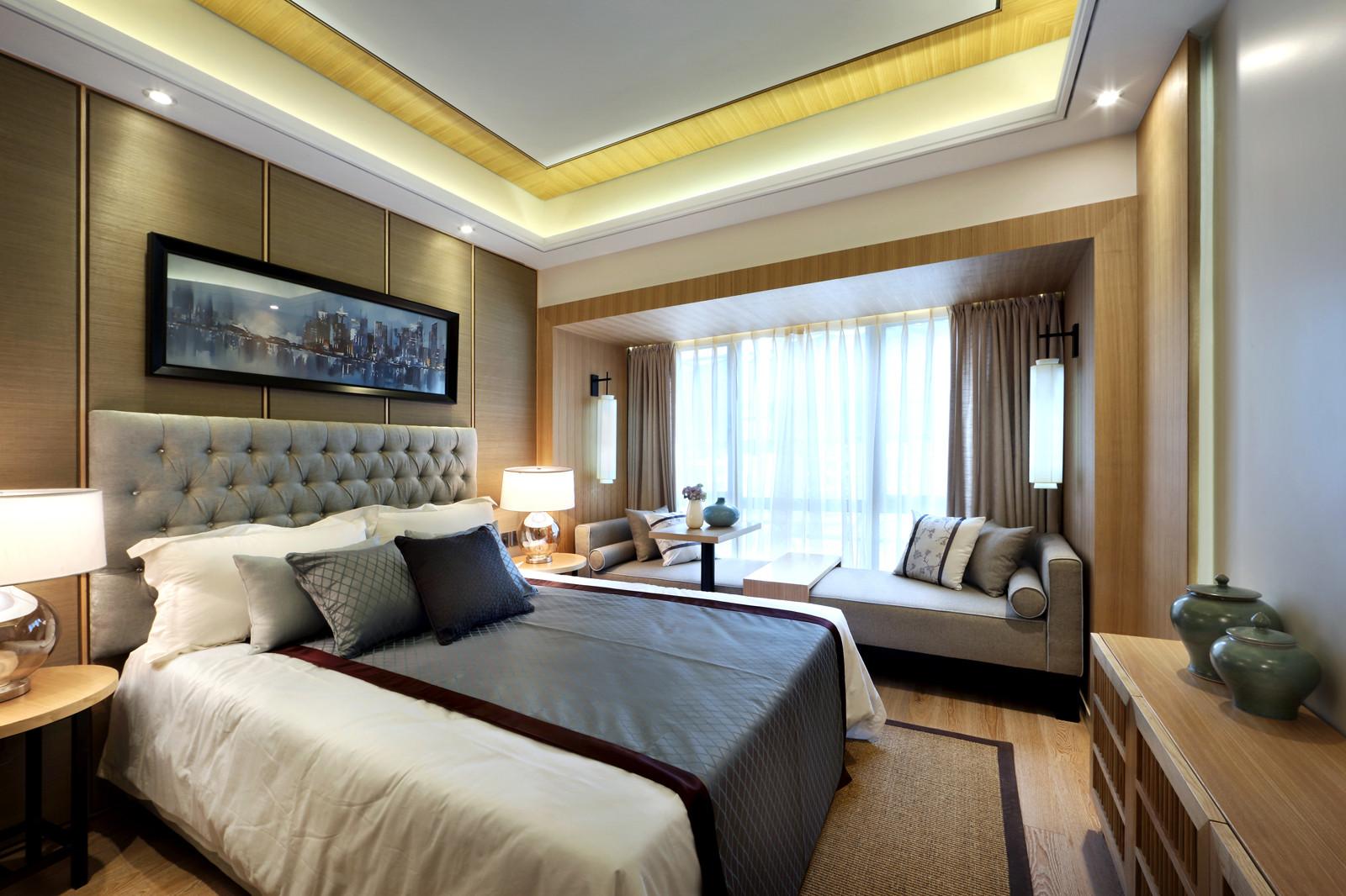 新中式样板房装修次卧效果图