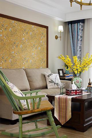 130㎡美式三居室装修客厅一角