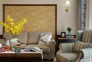 130㎡美式三居室装修沙发背景墙图片