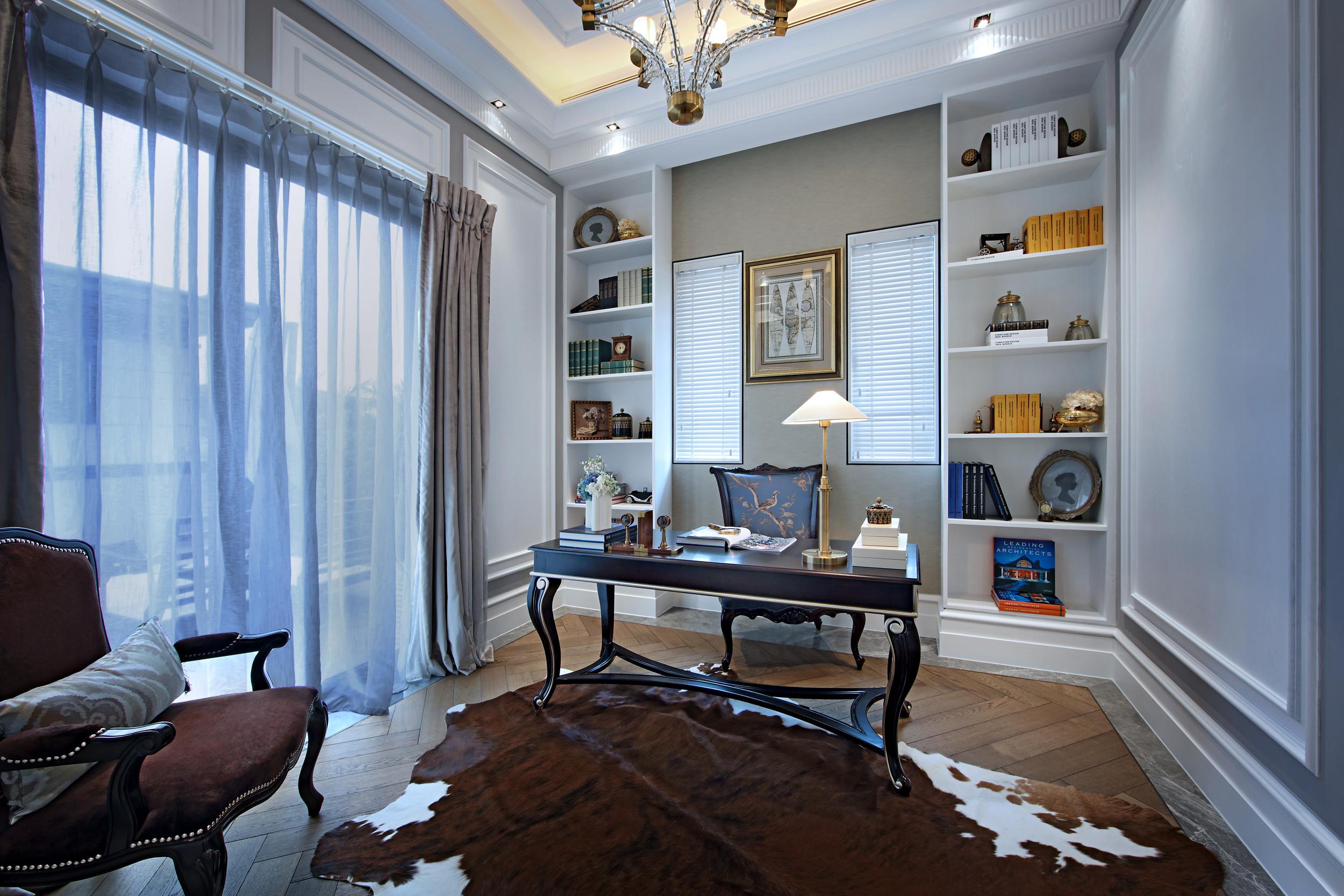 高贵奢华欧式别墅装修书房设计图