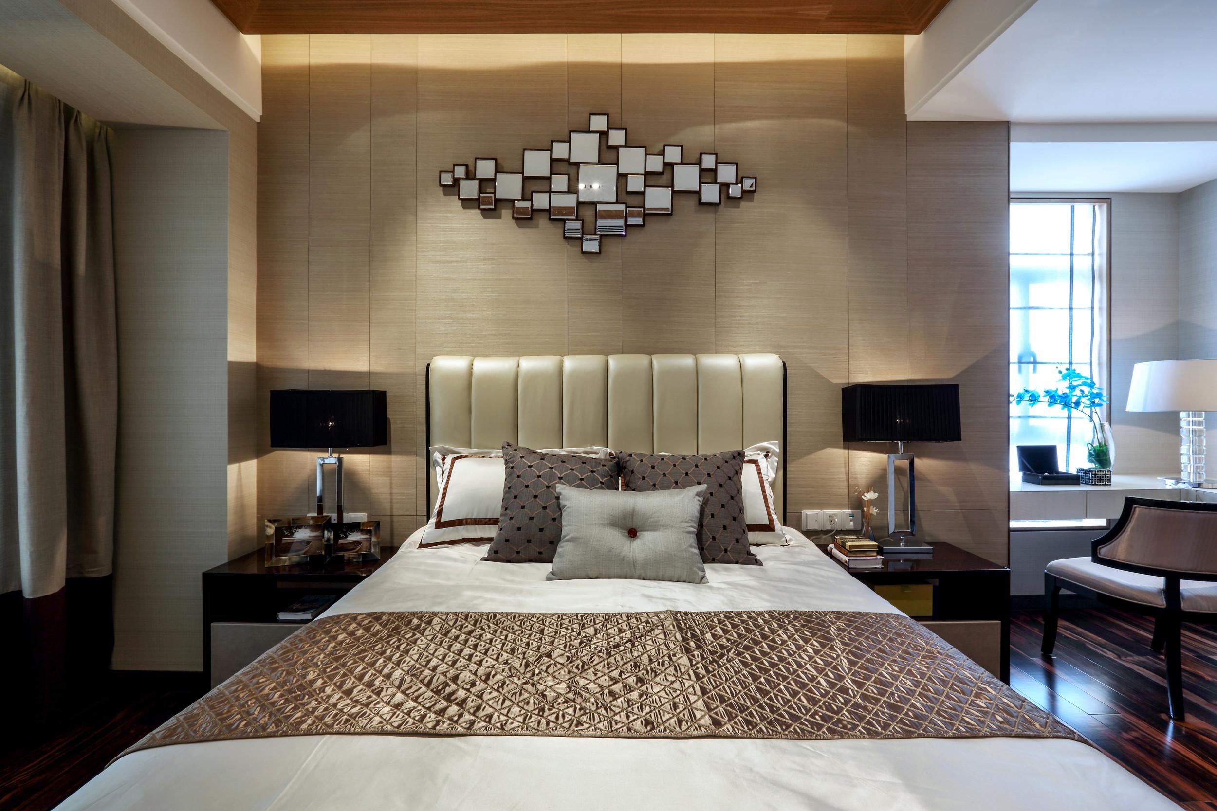现代中式样板房装修卧室背景墙设计