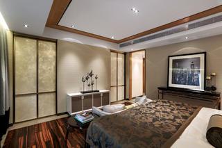 现代中式样板房装修卧室吊顶设计