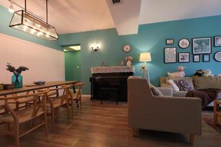 混搭風格三居室裝修沙發背景墻圖片