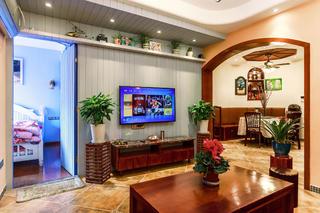 混搭风格三居之家电视背景墙图片