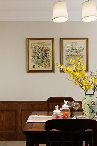 130㎡美式三居室装修餐厅背景墙图片