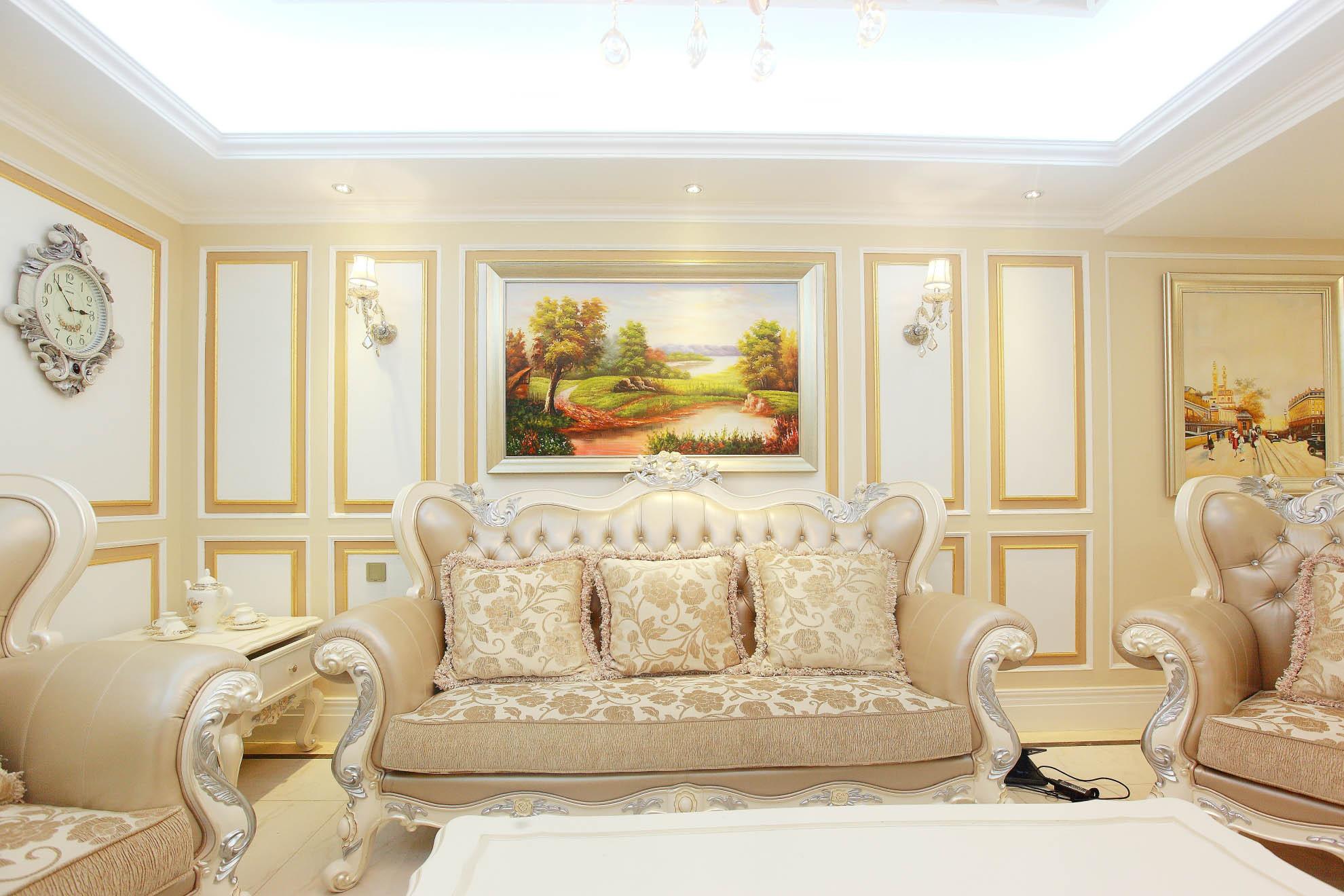 大户型法式风格装修沙发背景墙图片