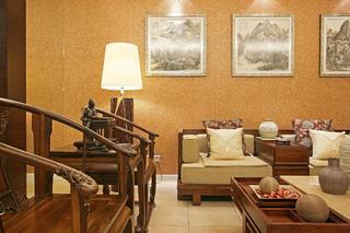 新中式别墅装修设计沙发背景墙图片