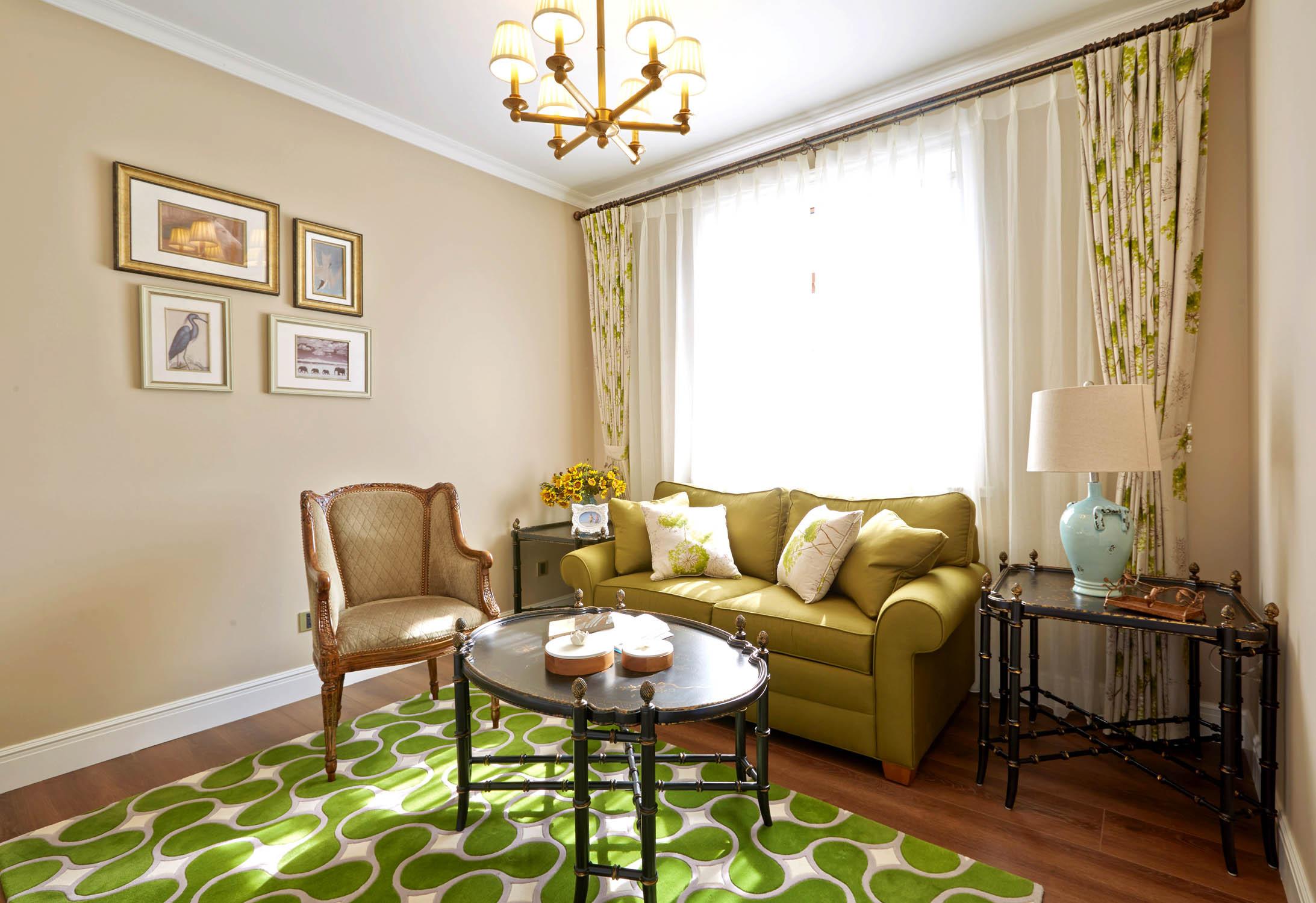 美式风格别墅起居室效果图