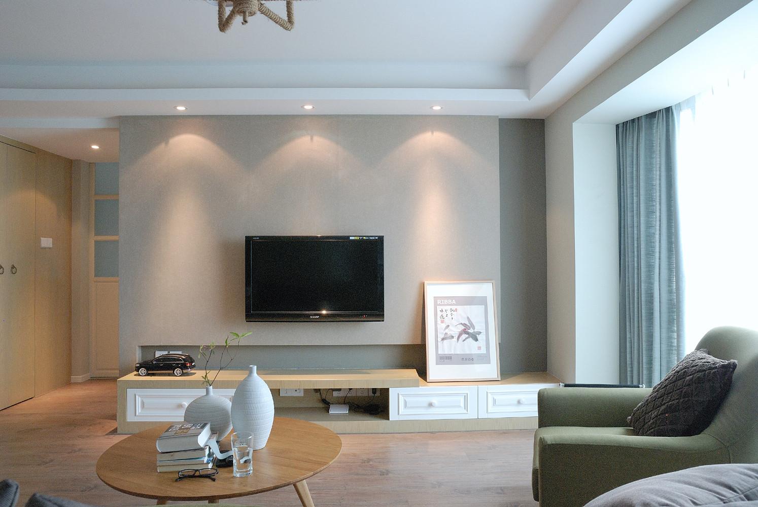 120平北欧风格家电视背景墙图片