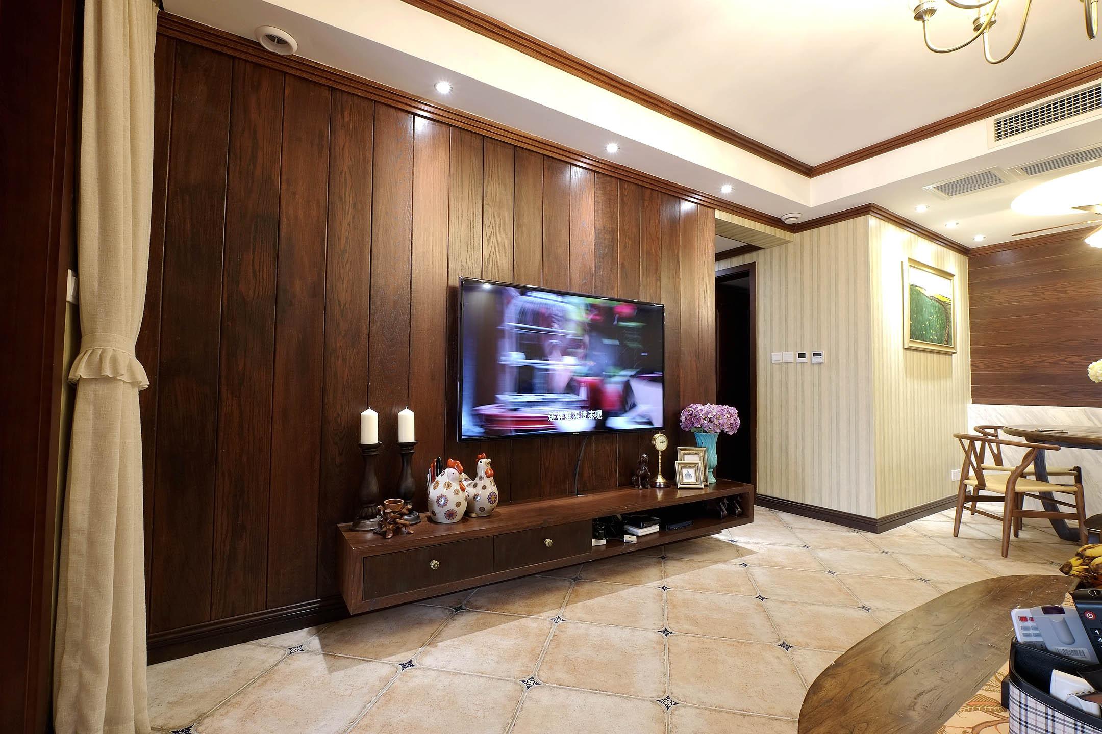 混搭风格四居室装修电视背景墙图片