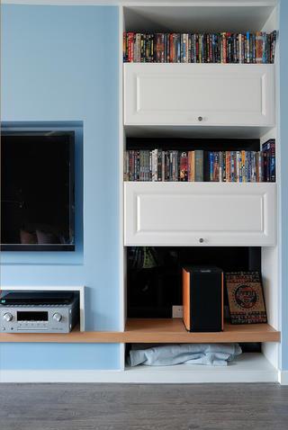 美式休闲二居装修书柜设计