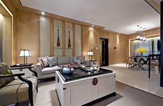 新中式四居装修客厅效果图