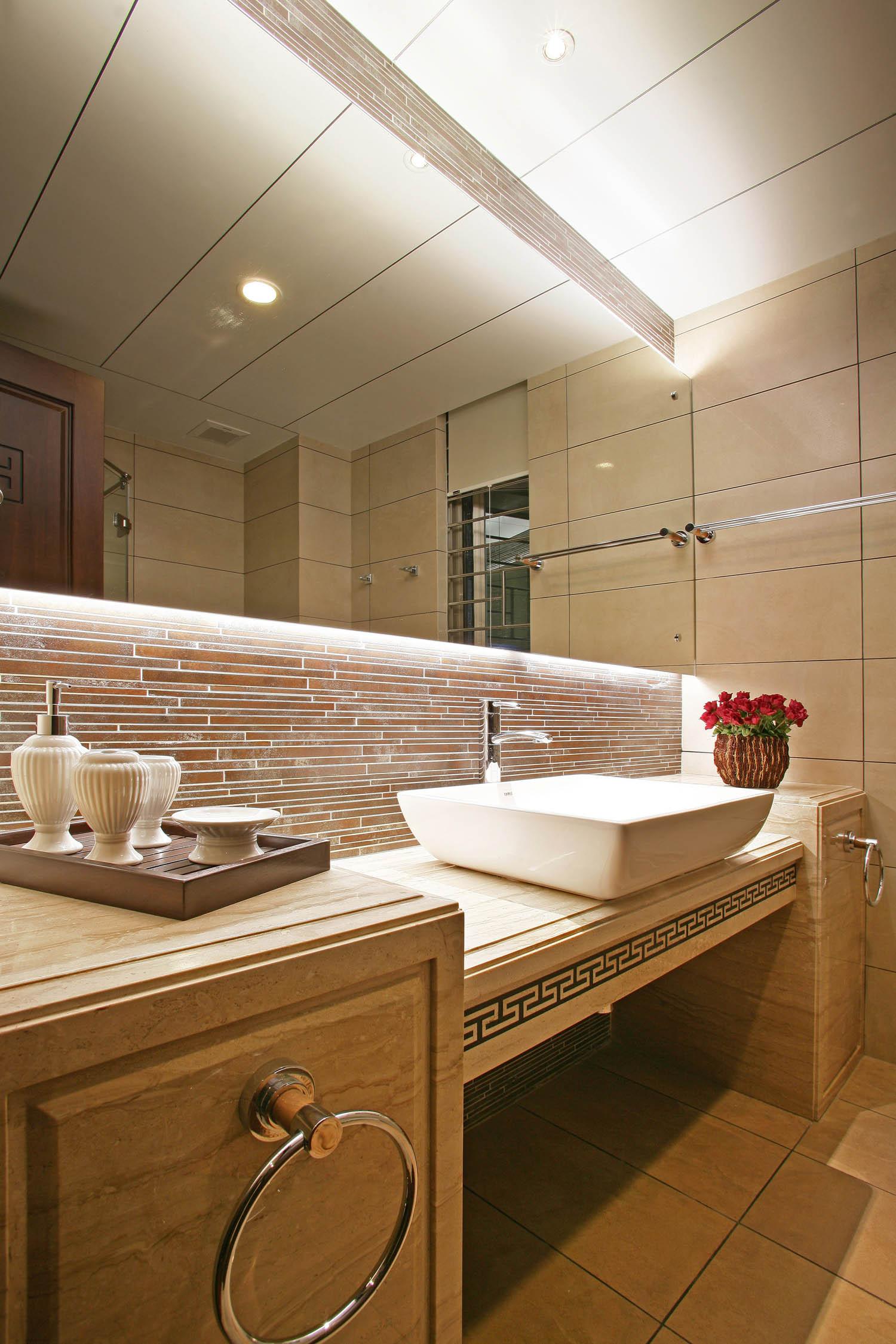 新中式别墅装修洗手台图片