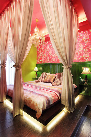 两居室混搭风格家床头背景墙图片