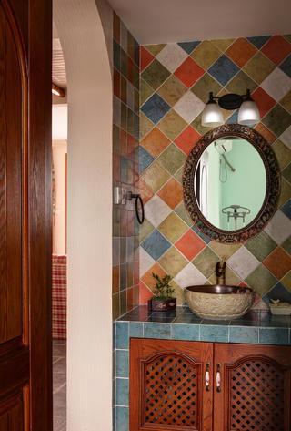 130平混搭风格装修洗手台设计