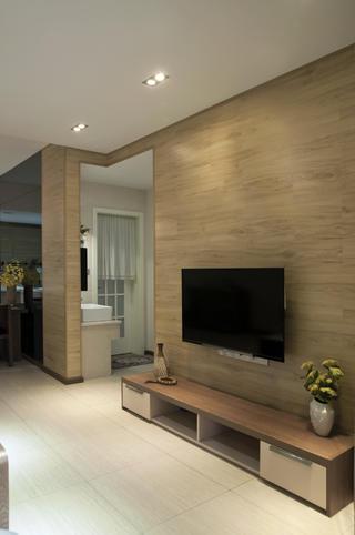 80㎡两居室装修电视背景墙设计