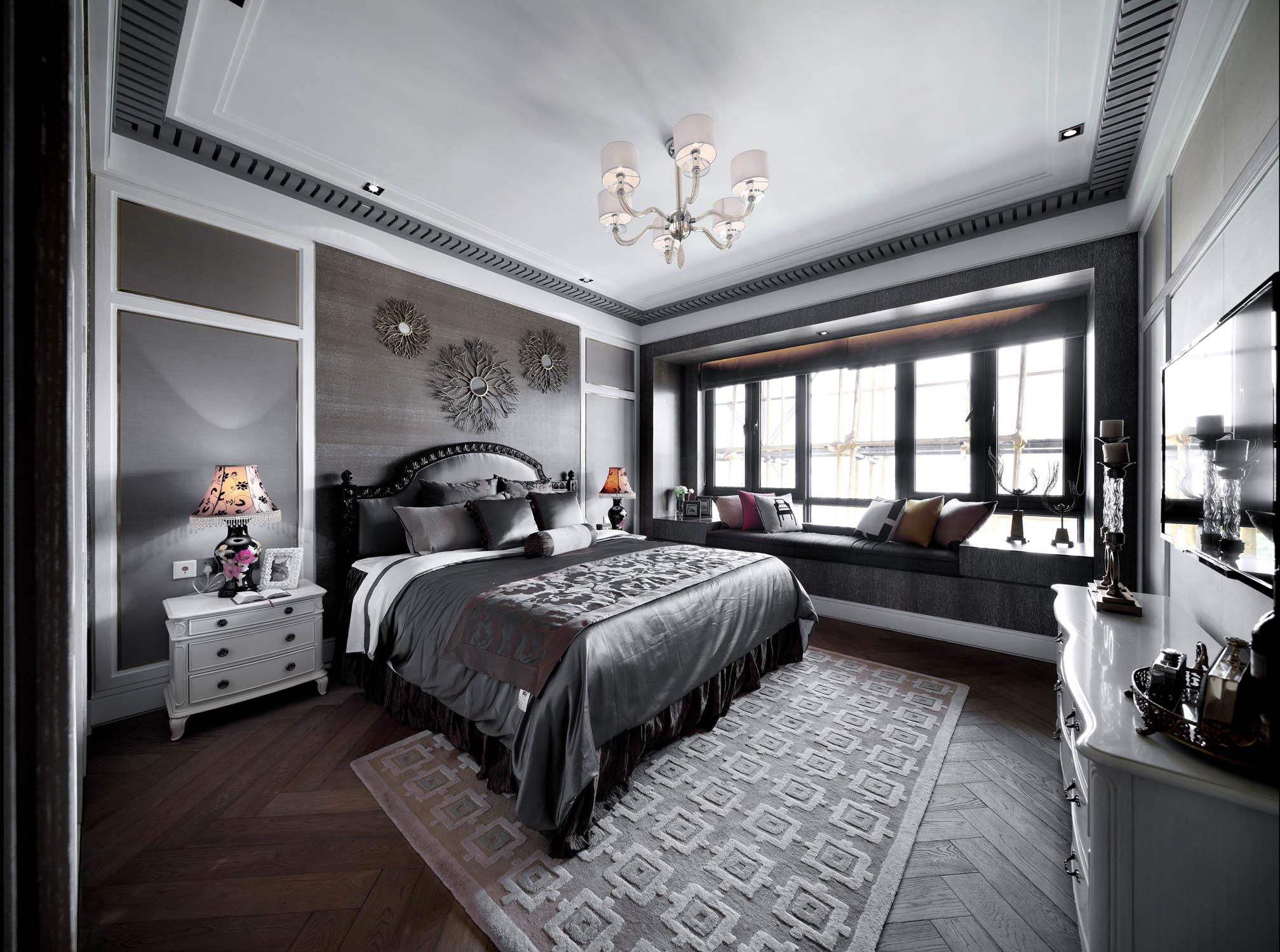 大户型法式样板房装修卧室背景墙图片