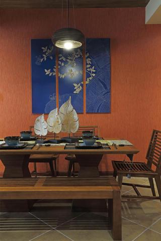 东南亚风格三居餐厅背景墙图片