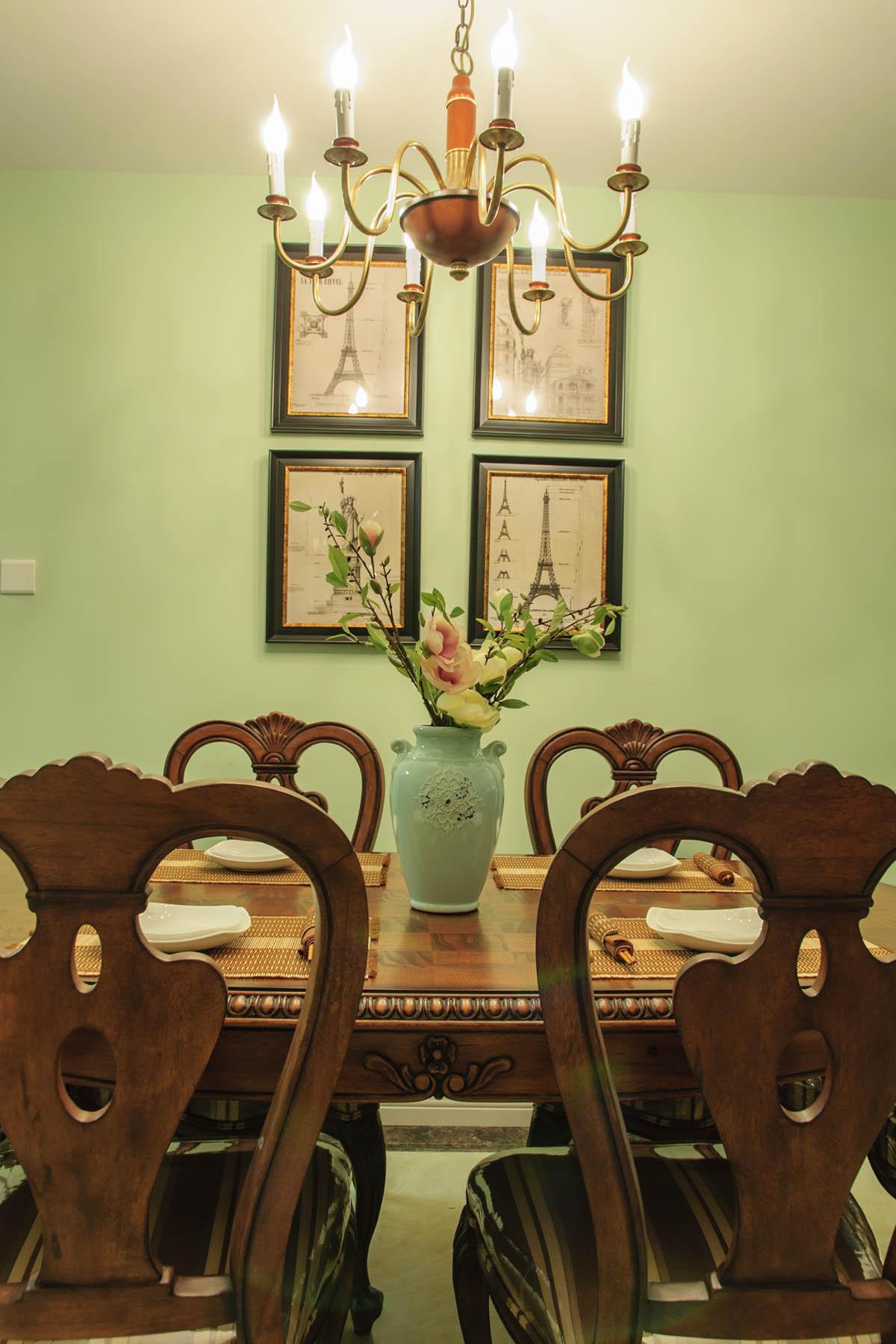 120平美式装修餐厅背景墙图片